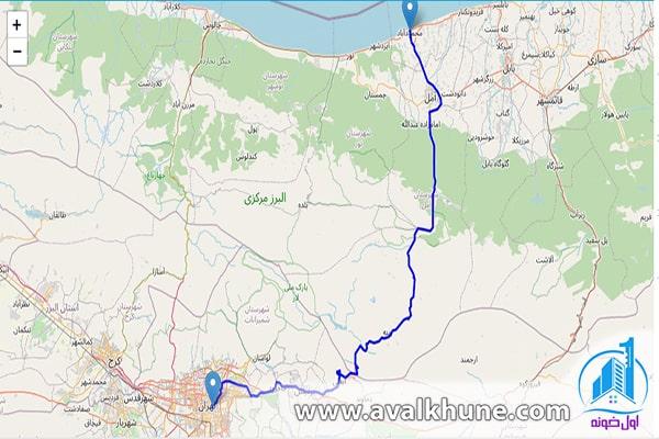 راهنمای مسیر تهران به محمودآباد