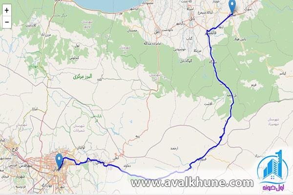 فاصله تهران تا ساری از جاده هراز
