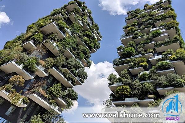 معماری ساختمان جنگل عمودی در شهر میلان، ایتالیا
