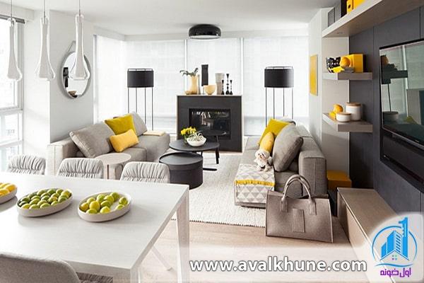 تلفیق رنگ زرد و خاکستری