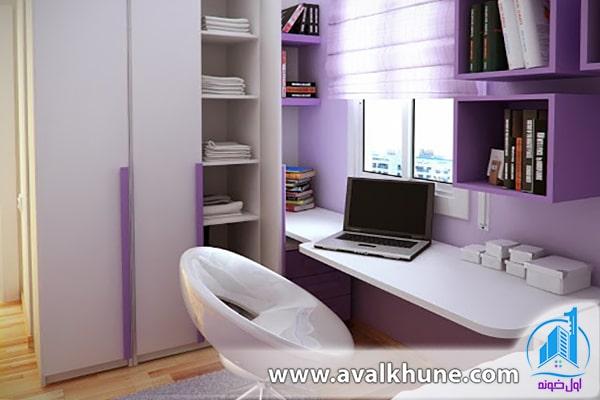 طراحی دکوراسیون اتاق مطالعه دخترانه