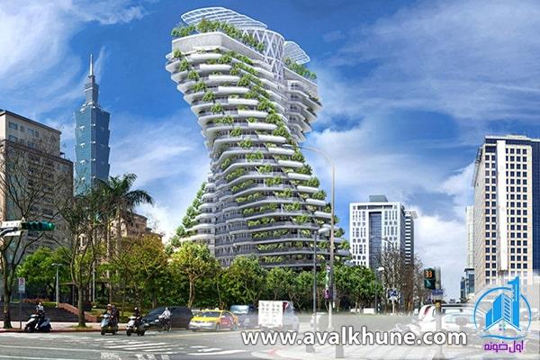 معماری ساختمان سبز با مدل DNA در شهر تایپه، تایوان